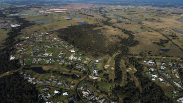 The site of western Sydney's new international airport at Badgerys Creek as it looked in August.