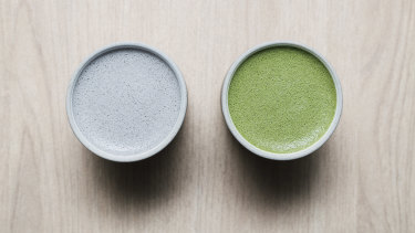 The black sesame and matcha lattes at Comeco Foods in Newtown.