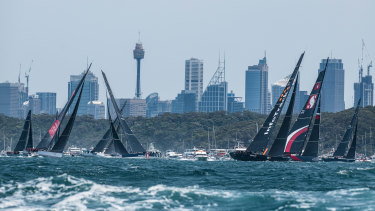 It was an incident-free start to the Sydney to Hobart, as InfoTrack won the race out of the heads.