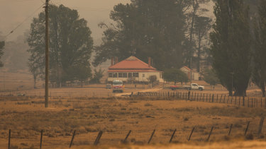 An RFS Team watch at a property in the Shannons Flat region, in case of ember attack.