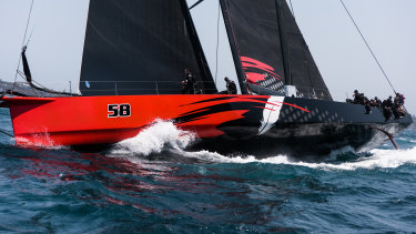 Comanche missed the mark at the start of the race, falling behind as the other four supermaxis sprinted towards open sea.