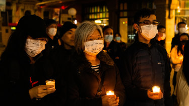 Vigil for the anniversary of the Tiananmen Square massacre in Sydney on Thursday.