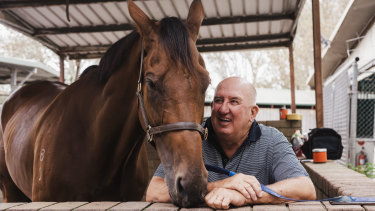 Pat Webster with ''the old boy'' Happy Clapper.