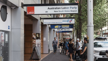 The NSW Labor Party headquarters in Sussex Street, Sydney.