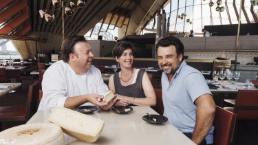 Peter Gilmore with cheesemakers Cressida and Michael McNamara at Bennelong restaurant, Opera House.