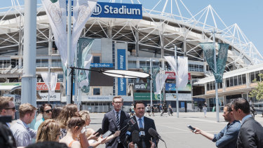 NSW Treasurer Dominic Perrottet and Sports MInister Stuart Ayres announce the demolition and reconstruction of the Sydney Football Stadium last Friday.