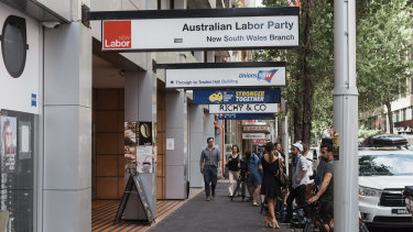 The NSW Labor Party headquarters in Sussex Street, Sydney, which was raided by ICAC in December.