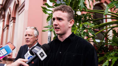 Kristo Langker, pictured in July, was arrested by the Fixated Persons Unit.
