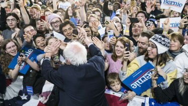 Bernie Sanders on the campaign trail in Virginia on Saturday.