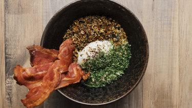 The bacon oat porridge is inspired by chicken congee.