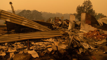 A property destroyed by bushfires at Cobargo on the NSW south coast.