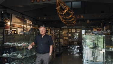 Peter Collins, the new president of the Museum of Applied Arts and Science, amid his private collection.