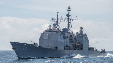 A Ticonderoga-class guided-missile cruiser USS Antietam sails in the South China Sea.