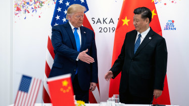 President Donald Trump and China's leader, Xi Jinping, at a bilateral meeting at the G20 summit in June  2019.