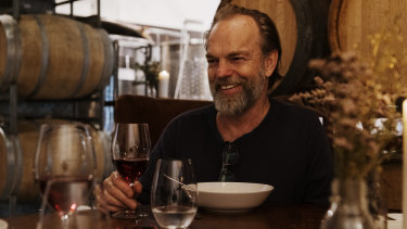 Hugo Weaving enjoys a glass of A.Retief sangiovese over lunch at the Urban Winery Sydney in Moore Park.