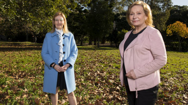Gabrielle Upton, Liberal member for Vaucluse, pictured with Charlotte Feldman, president of the Darling Point Society, at Rushcutters Bay Park.