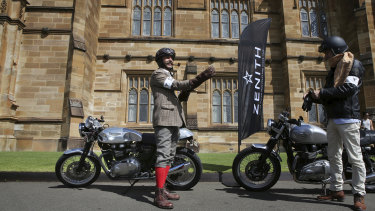 Ian Roberts chose tweed for the Distinguished Gentleman's Ride in Sydney.