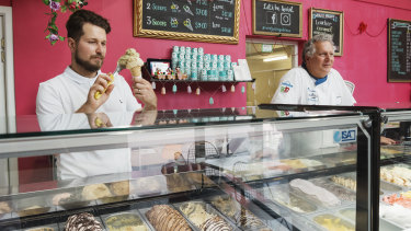 Vincent Piccolo, manager of Art of Gelato Michaelangelo with his father Martino Piccolo, who owns the business.