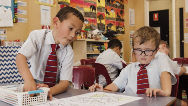 An all-boys kindergarten class at Pittwater House School.