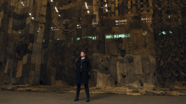 Barbara Moore in Cockatoo Island's Turbine Hall, venue for Ibrahim Mahama's work No Friends But The Mountains.