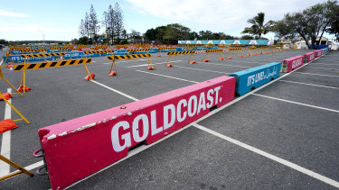 Barricades erected at The Spit car park earlier this week to deter Gold Coast beach visitors.