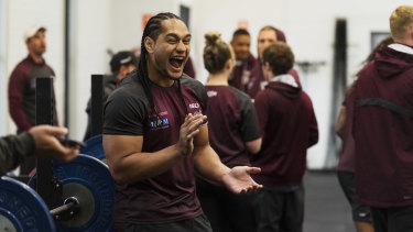 Happy place: Martin Taupau has re-signed with the Sea Eagles until the end of 2022.