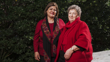 "Olfat Mahmoud, left, and Helen McCue: ""Helen and I always laugh together, even when the situation is miserable."""