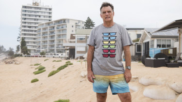 Collaroy resident Garry Silk standing on the site where a row of beachside properties recieved severe erosion during the June 2016 storm surges.