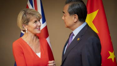 Foreign Minister Julie Bishop with her Chinese counterpart Wang Yi in Buenos Aires.