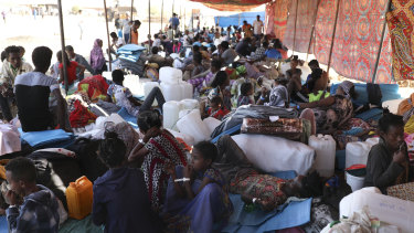 Ethiopian refugees rest in Qadarif region, Sudan, after fleeing the fighting in Tigray.
