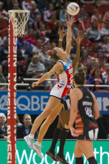 Swifts' Sarah Klau intercepts during their win over Collingwood.