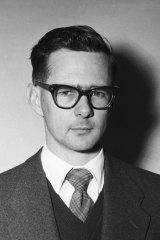 Gavin Souter in the Herald office on November 6, 1956.