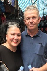 Melbourne couple Jan and Jason Frede were among the few tourists at Mong Kok market.
