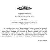 A notification from the Privy Council that the Queen has approved an order to prorogue Parliament.