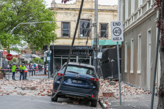 Damage from the earthquake in Melbourne.
