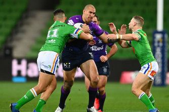 Nelson Asofa-Solomona was a constant threat for the Storm but the home side was unable to overcome the Raiders.
