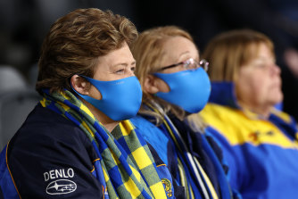 Eels fans mask up at the NRL match between Parramatta and Wests Tigers in Sydney on July 23.