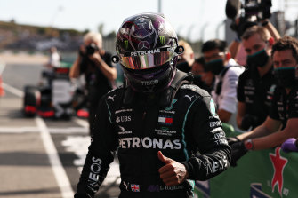 Lewis Hamilton took pole for Mercedes in Portugal.