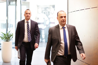 NRL CEO Andrew Abdo and ARLC chairman Peter V'landys last year.
