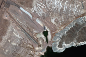 This July 27 satellite image provided  shows the low water level at the Boulder Harbor Launch Ramp at Lake Mead in Boulder City, Nevada.