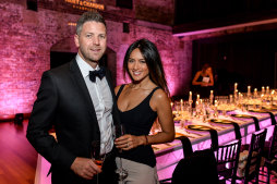 Simon Chalmers and Bianca Cheah  in 2016 at vintage champagne launch in Sydney.