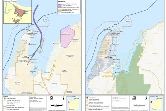 Maps of proposed industrial developments around Exmouth Gulf and a potential new national park on the eastern and southern boundaries.