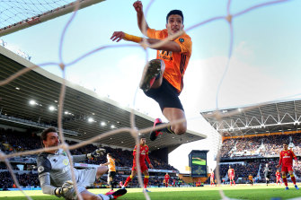 Raul Jimenez scores for Wolverhampton Wanderers at Norwich on Sunday.