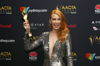 Emma Booth poses with her AACTA Award for Best Lead Actress in 2017.