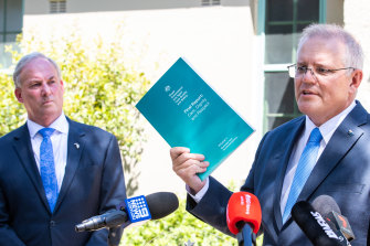 Prime Minister Scott Morrison at a press conference about Royal Commission into Aged care quality and safety, Final report: Care, Dignity and Respect, at  Kirribilli House.