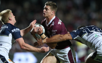 Manly fullback Reuben Garrick makes a charge at Brookvale on Friday night.