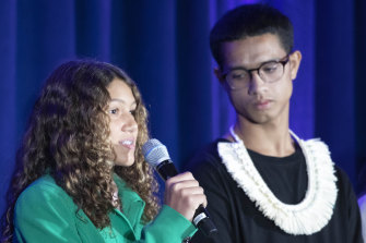 Catarina Lorenzo of Brazil and David Ackley III of the Marshall Islands speak of their personal experience with climate change.