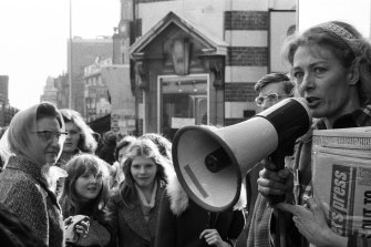 Vanessa Redgrave campaigns for the Workers Revolutionary Party in 1974.