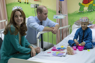 Princess Kate and Prince William celebrate the birthday of Wafia Remain, 7, on a visit to Shaukat Khanum Memorial Cancer Hospital.