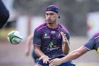 Jordan Petaia on the training paddocks ahead on Friday's trial against the Waratahs.